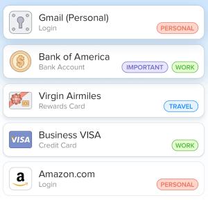 Organizing passwords - 1password
