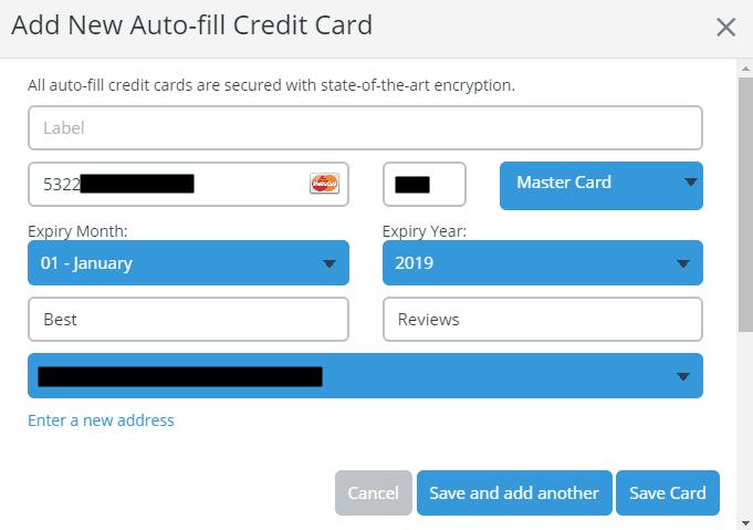 Credit Cards in Abine Blur