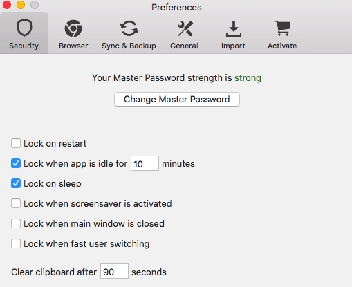 Security Settings in Avast Passwords Mac