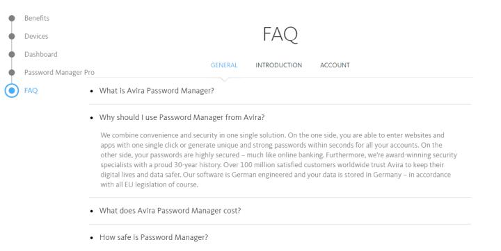 FAQ for Avira Password Manager