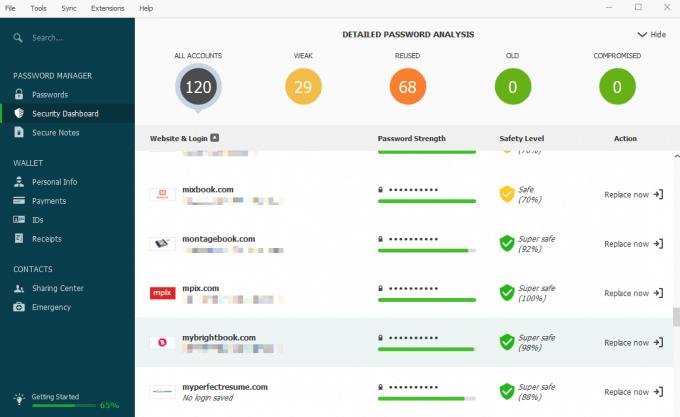 Password Analysis in Dashlane