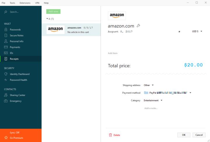 Online Receipts Stored in Dashlane
