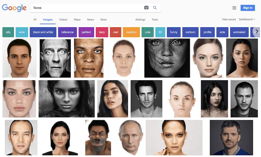 Faces Google search