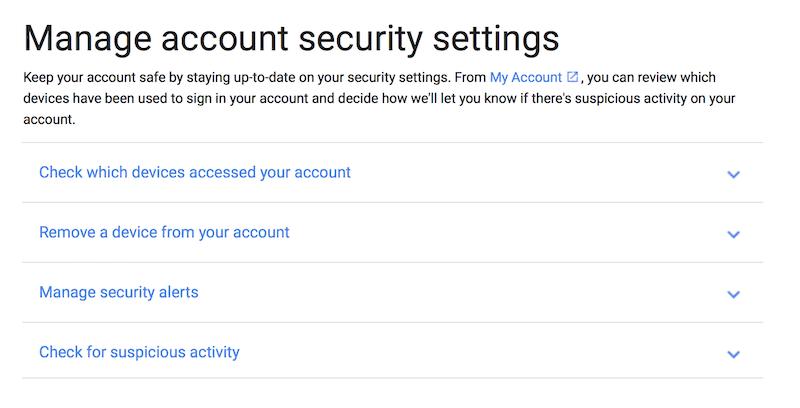Google security settings
