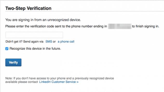 LinkedIn two-step verification