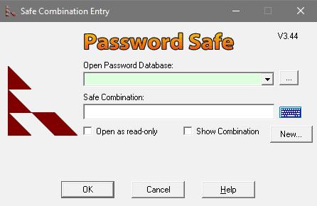 Start Screen of Password Safe