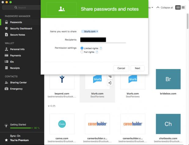 Password Sharing in Dashlane