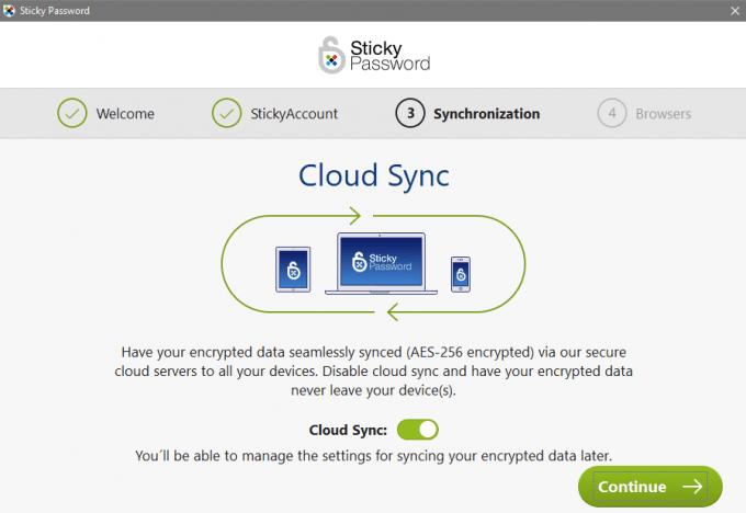 Enabling Cloud Syncing During Setup