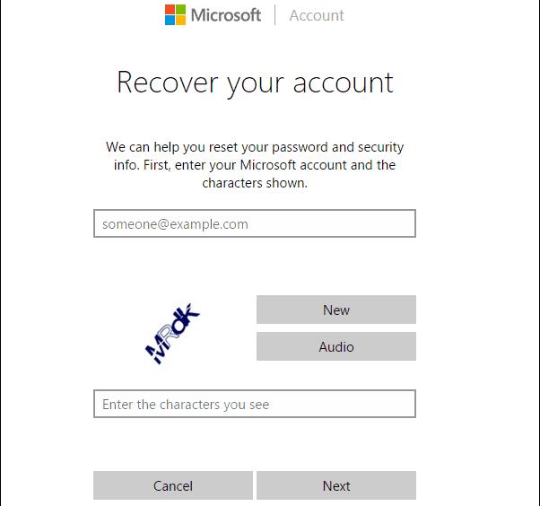 reset microsoft account password windows 10